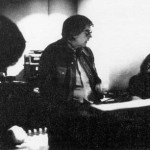"C.W.McCall - aka. Bill Fries - confers with composer Chip Davis - now with Mannheim Steamroller - American Gramaphone. This was during the scoring of the film ""Convoy"", that lo-rent Sam Peckinpaw, Kris Kristofferson, Ali McGraw, Ernest Borgnine feature-film about 18-wheelers and CB radios. Don Sears looks on.  Note: it was Bill Fries and Chip Davis who gave me my handle - Wheels - and it's been with me ever since."